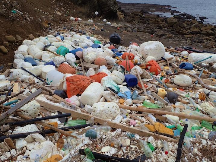 人里離れた海岸に吹き寄せられた大量のごみ。