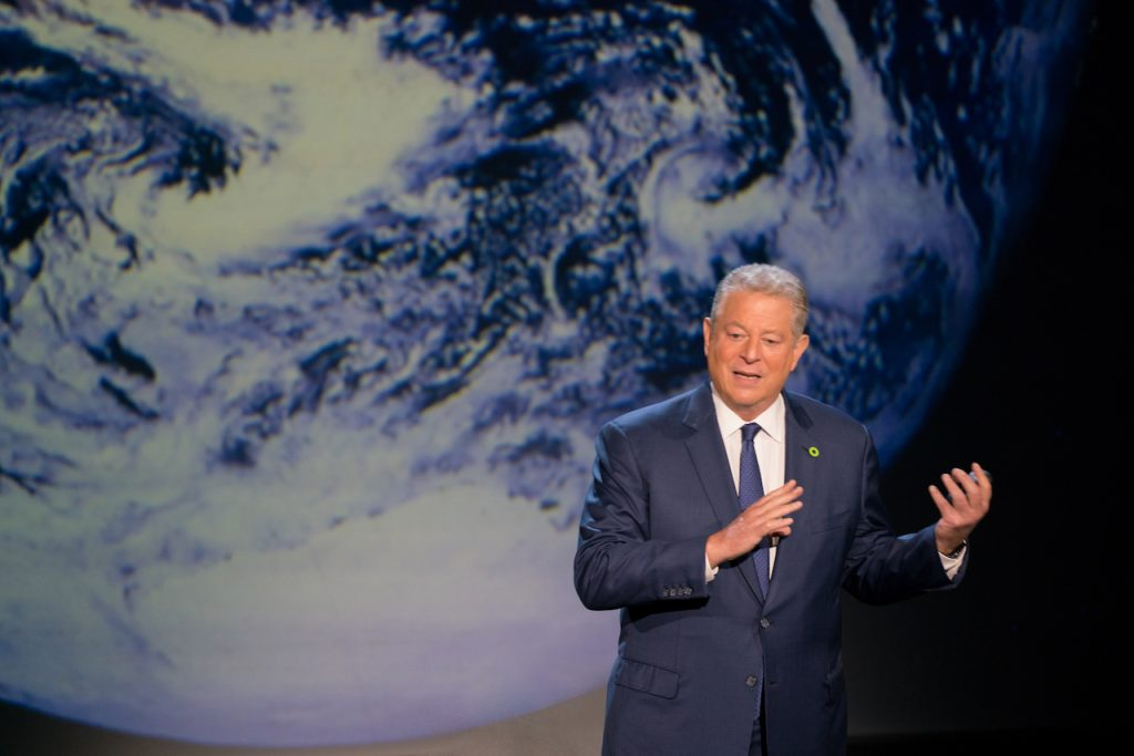 Al Gore giving his updated presentation in Houston, TX in An Inconvenient Sequel: Truth To Power from Paramount Pictures and Participant Media.